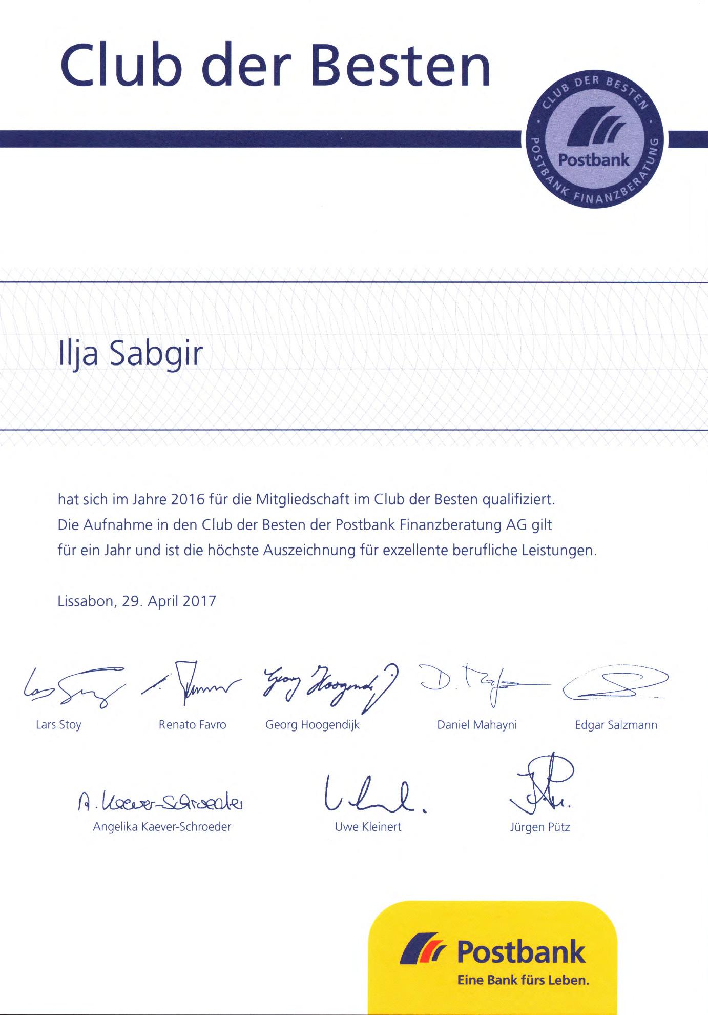 Zertifikat Club der Besten 2016