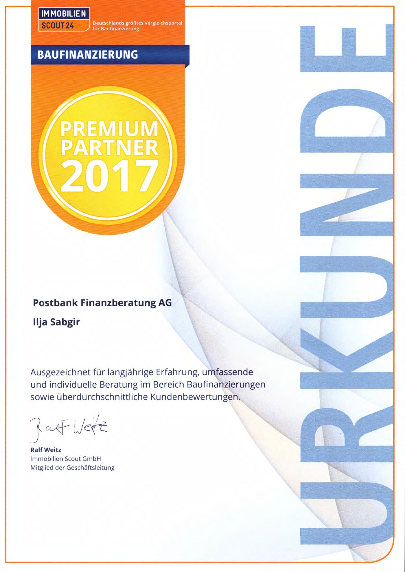 Zertifikat Premiumpartner is24