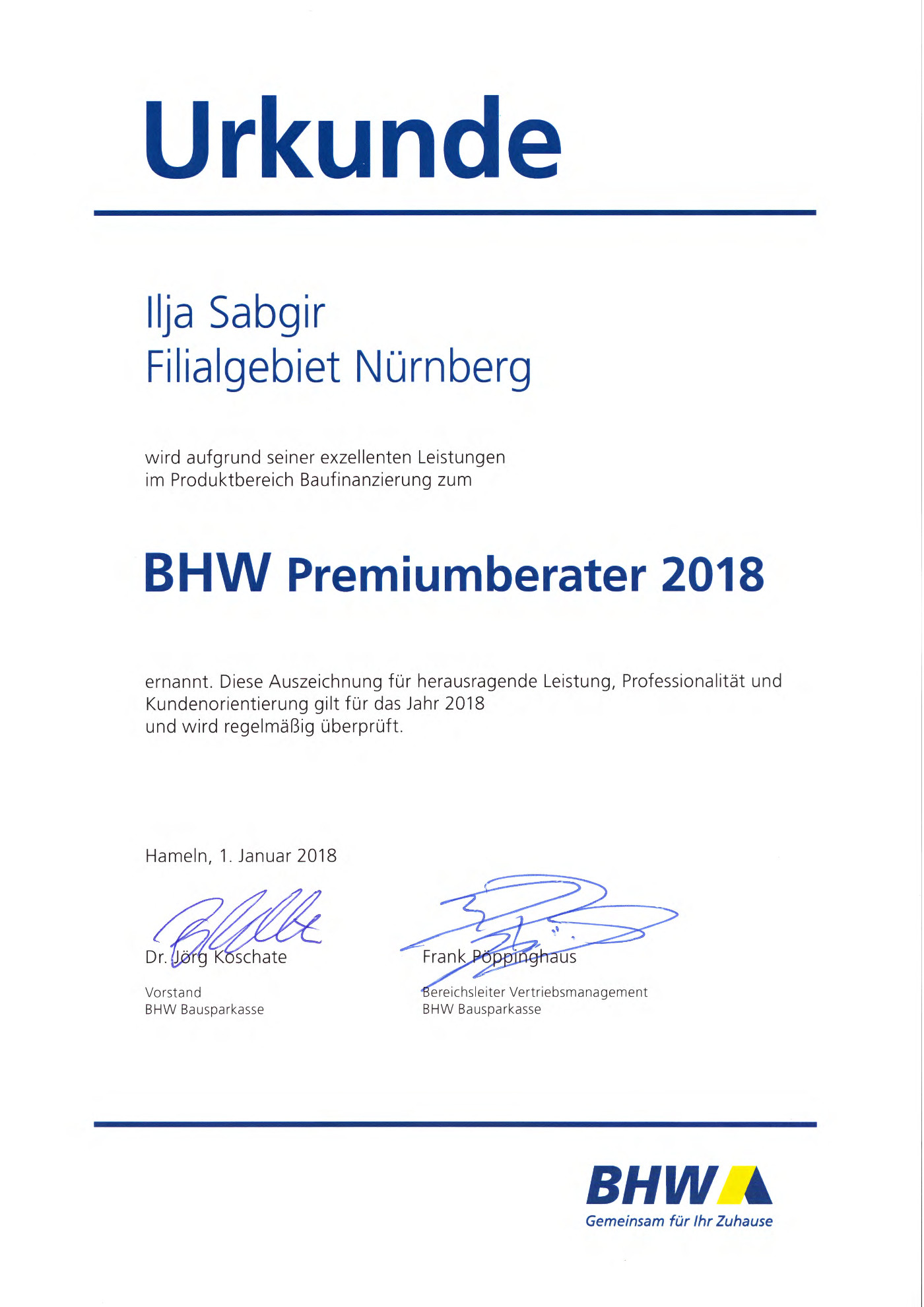 Zertifikat BHW Premiumberater